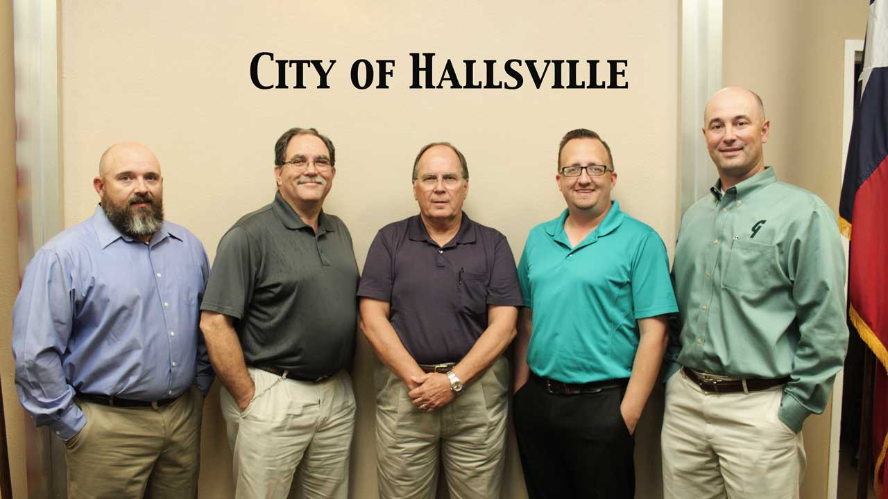 City of Hallsville City Council - Pictured left to right: Alderman Frankie Dunagan, Alderman Charlie Hunt, Mayor Steve Eitelman, Alderman Brandon Sheffield, Mayor Pro-Tem Dan Herrington. Not pictured Alderman Mike Bailey
